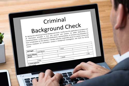 Notary public doing a background check
